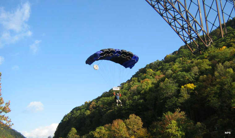 BASE jumper at New River Gorge Bridge