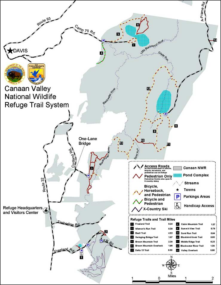 Map of Canaan Valley National Wildlife Refuge