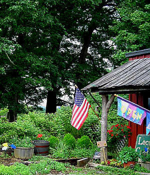 In front of a country store along the Highland Scenic Highway