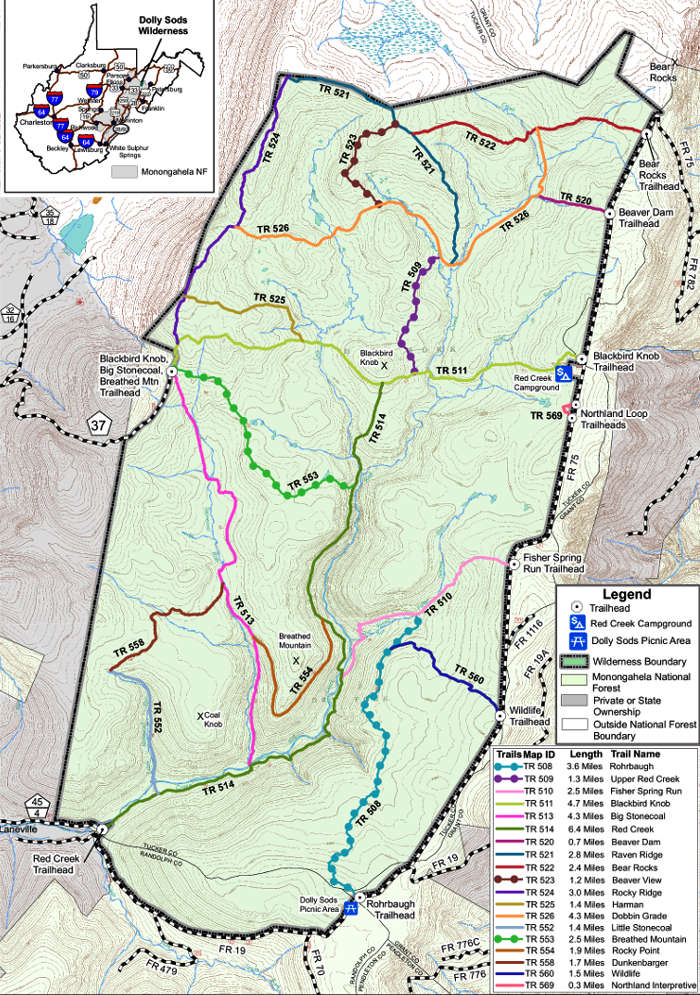 Trail map for Dolly Sods Wilderness