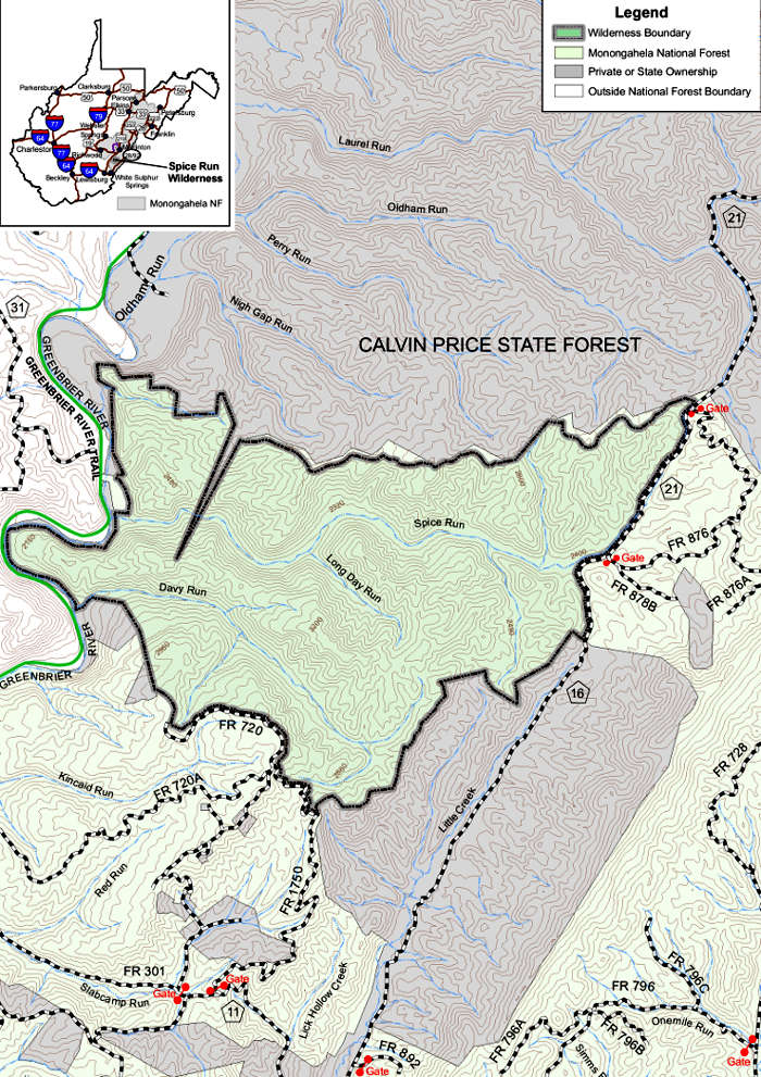 Trail map for Spice Run Wilderness