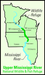 Map of the Upper Mississippi River National Wildlife and Fish Refuge