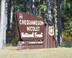 Chequamegon-Nicolet National Forest welcome sign
