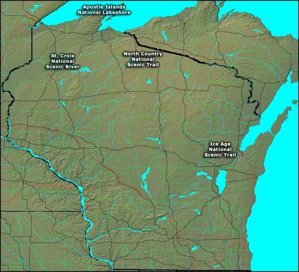 Map showing the locations of National Park Service sites in Wisconsin
