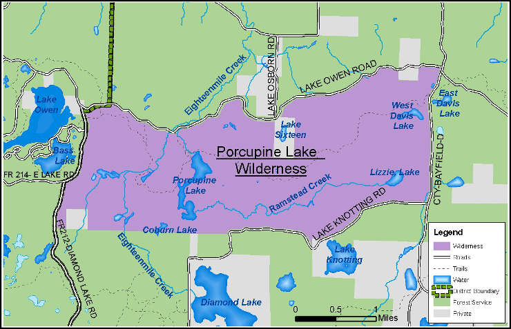 Map of Porcupine Lake Wilderness