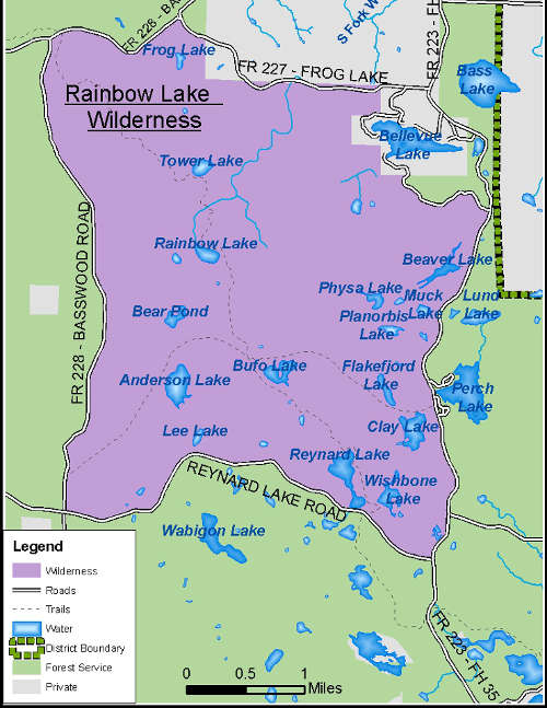 Map of Rainbow Lake Wilderness
