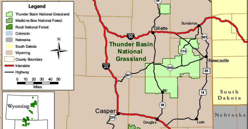 Map of the Thunder Basin National Grassland area
