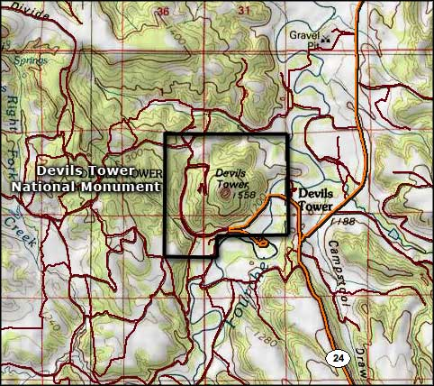 Area map of Devils Tower National Monument