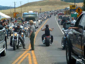 At the Monument entrance during the Sturgis Motorcycle Rally