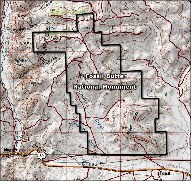 Map of Fossil Butte National Monument
