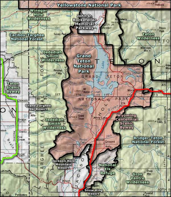 Grand Teton National Park area map
