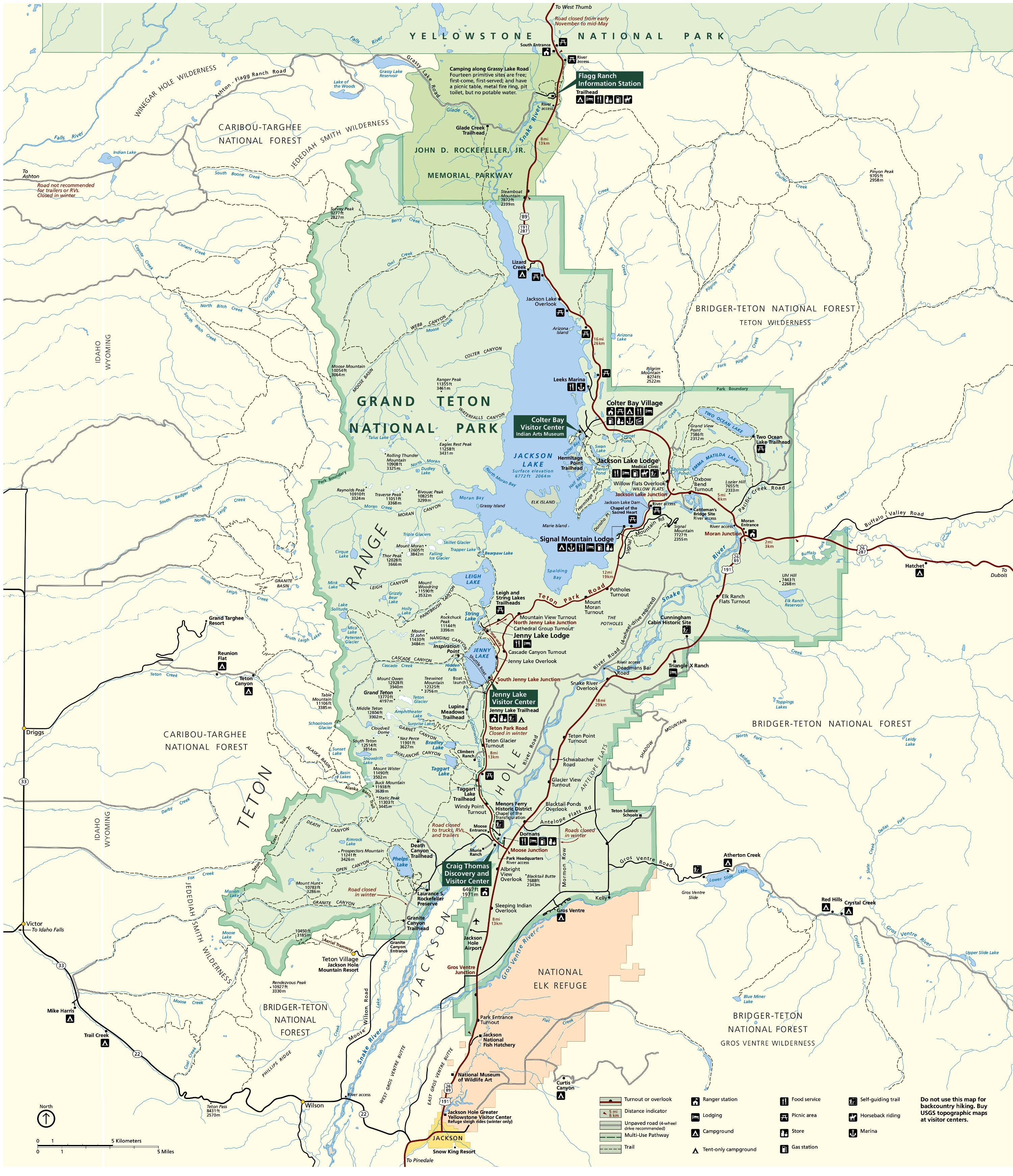 large map of grand teton national park. grand teton national park  wyoming national park service sites