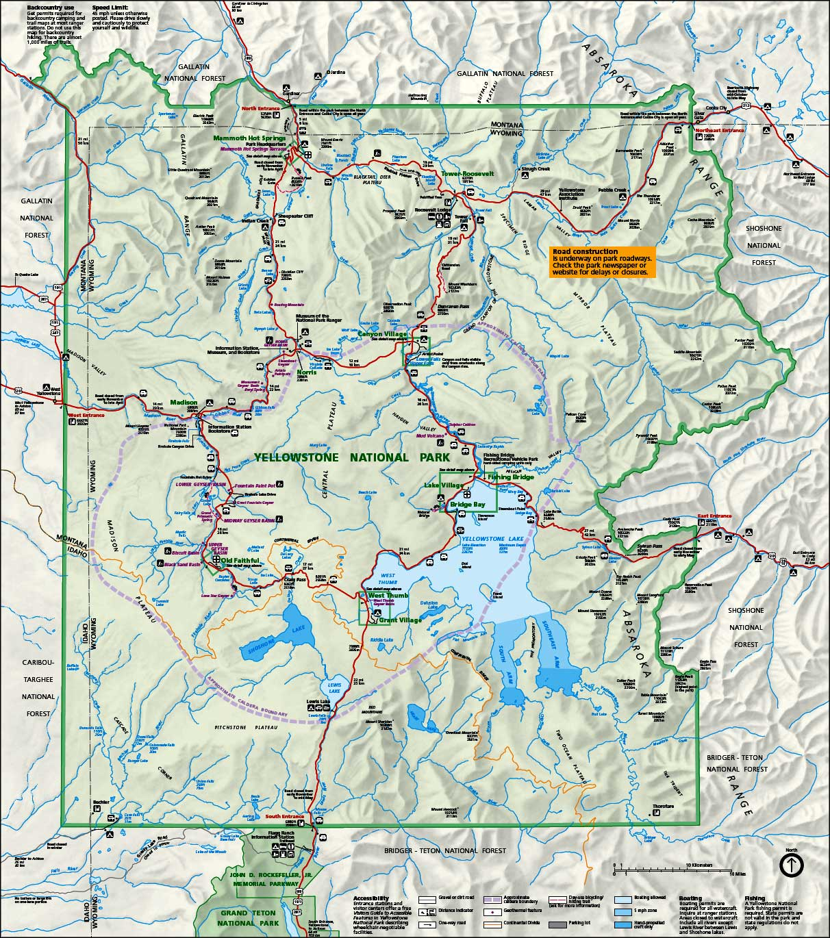 Yellowstone National Park Wyoming National Park Service Sites - Detailed map of wyoming