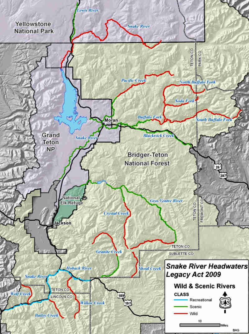 A map showing the various waterways included in the Snake River Headwaters declaration
