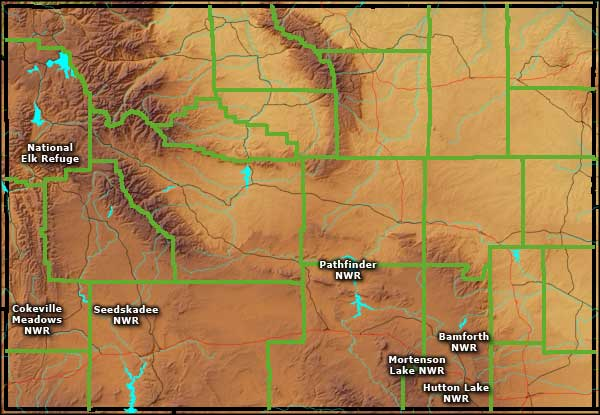 Map showing locations of the National Wildlife Refuges in Wyoming