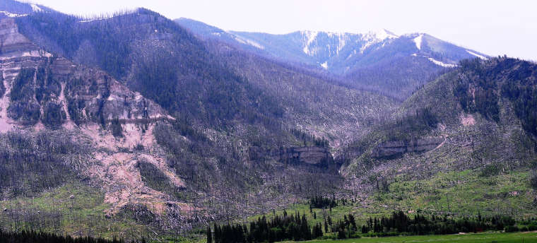 Cathedral Cliffs, in the area affected by the great forest fires in 1988