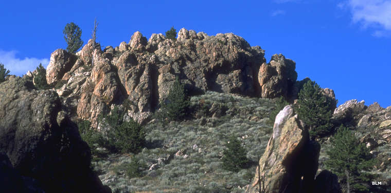 Rock outcroppings in the Seminoe Mountains