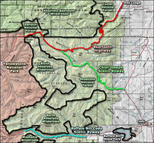 Beartooth Highway area map