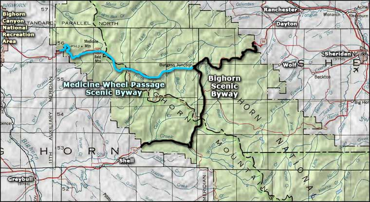 Area map of the Bighorn Scenic Byway
