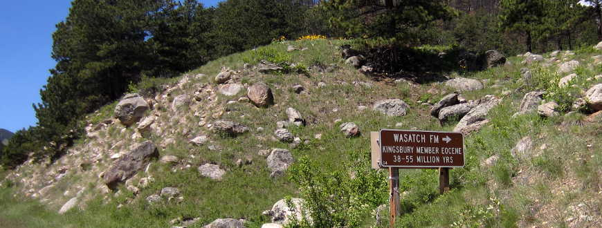 Sign marking an outcropping of the Wasatch Formation from 38 to 55 million years ago