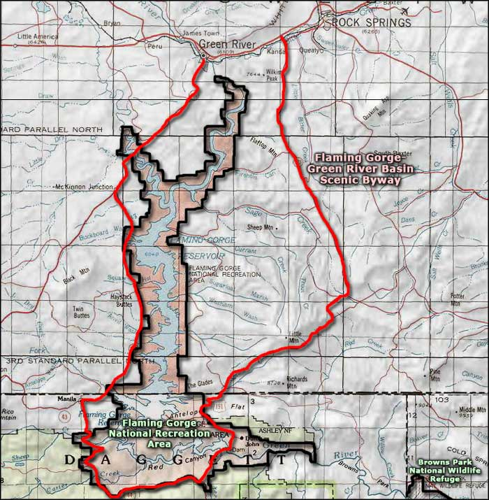 Flaming Gorge-Green River Basin Scenic Byway map