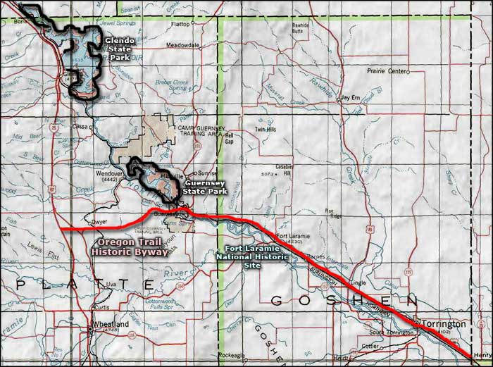 Oregon Trail Historic Byway area map