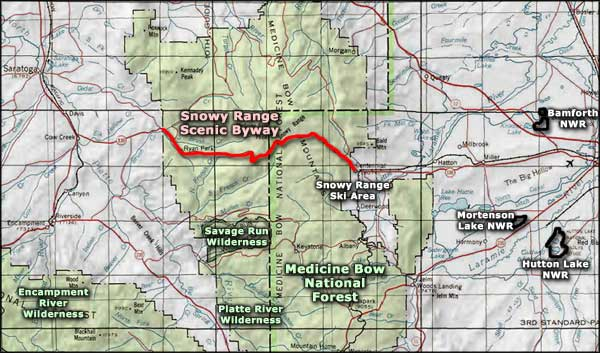 Snowy Range Scenic Byway area map