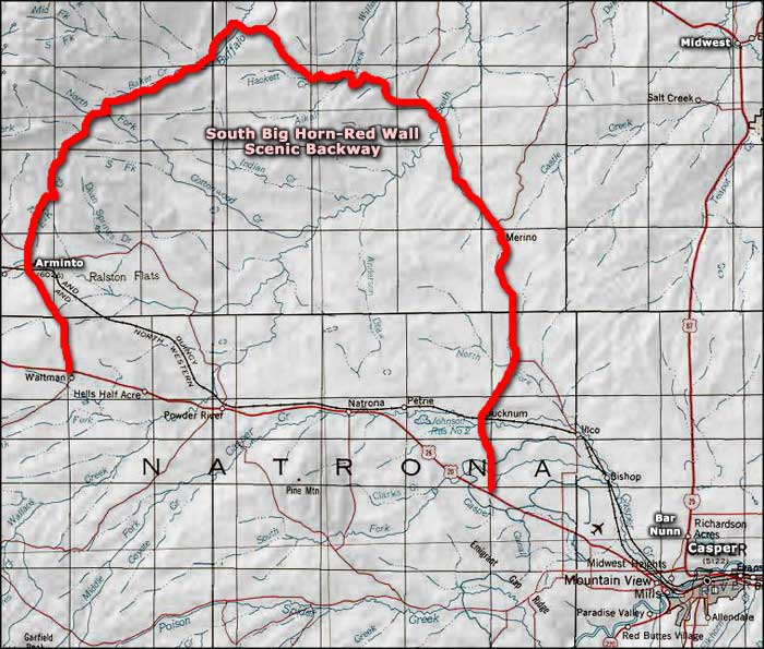 South Big Horn-Red Wall Scenic Backway area map