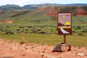 BLM sign along the South Big Horn-Red Wall Scenic Backway