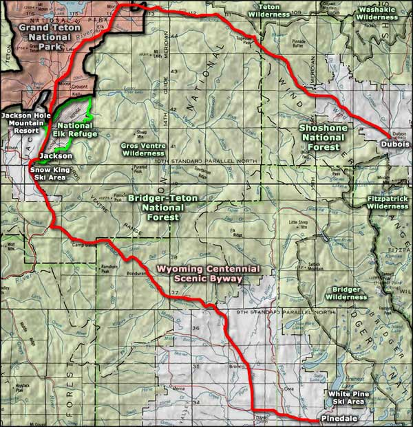 Centennial Scenic Byway area map