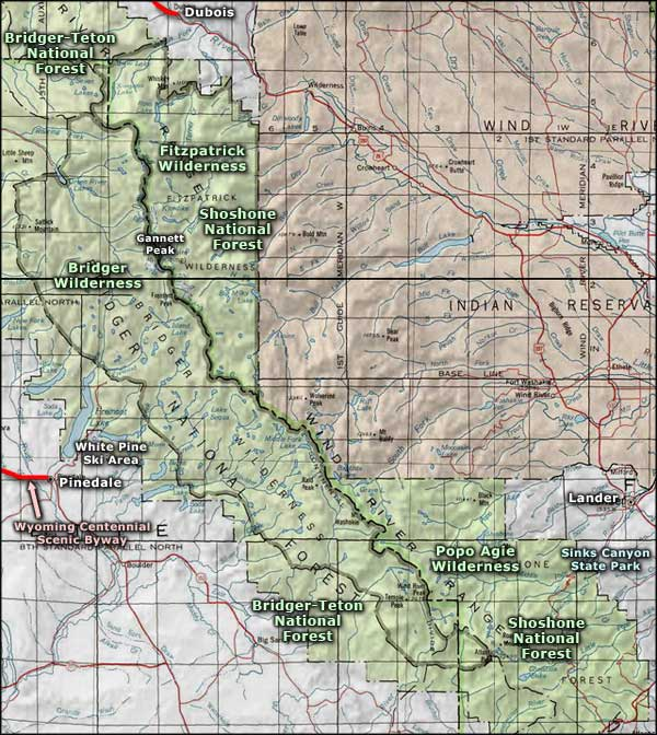 Bridger Wilderness map