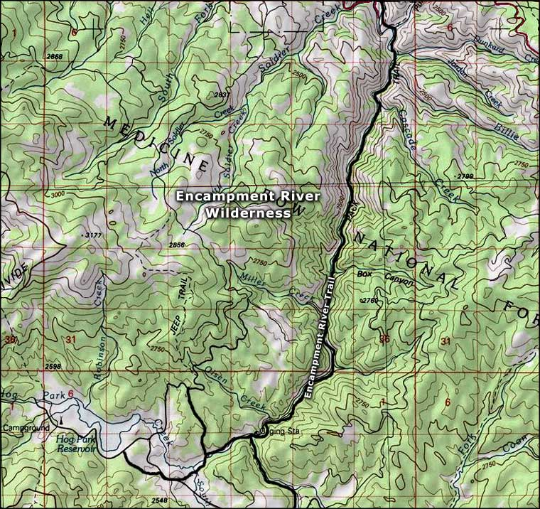 Encampment River Wilderness map