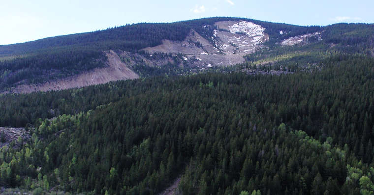 The landslide on Sheep Mountain, slowly being reclaimed by the forest