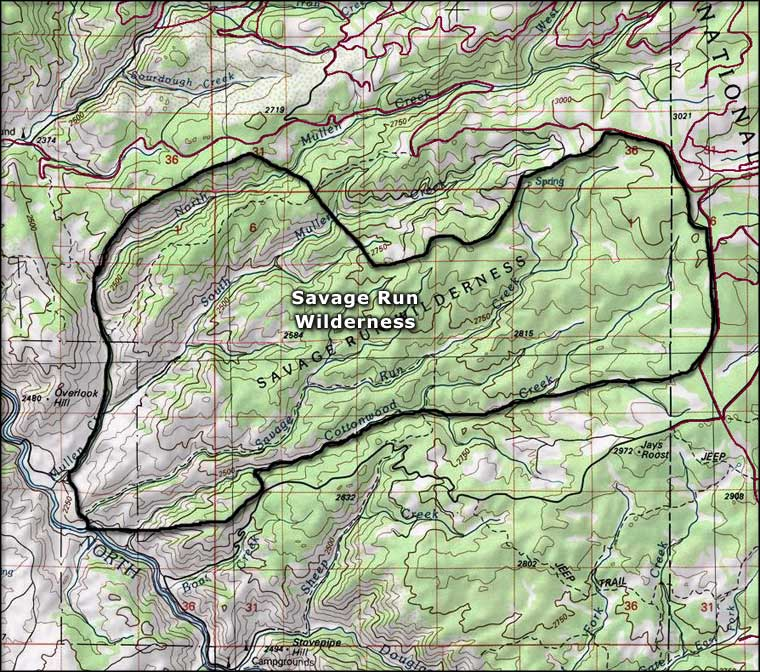 Map of Savage Run Wilderness