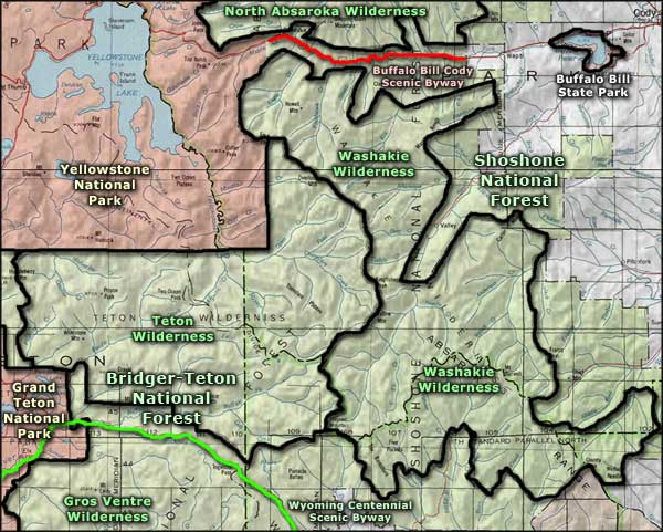 Washakie Wilderness area map