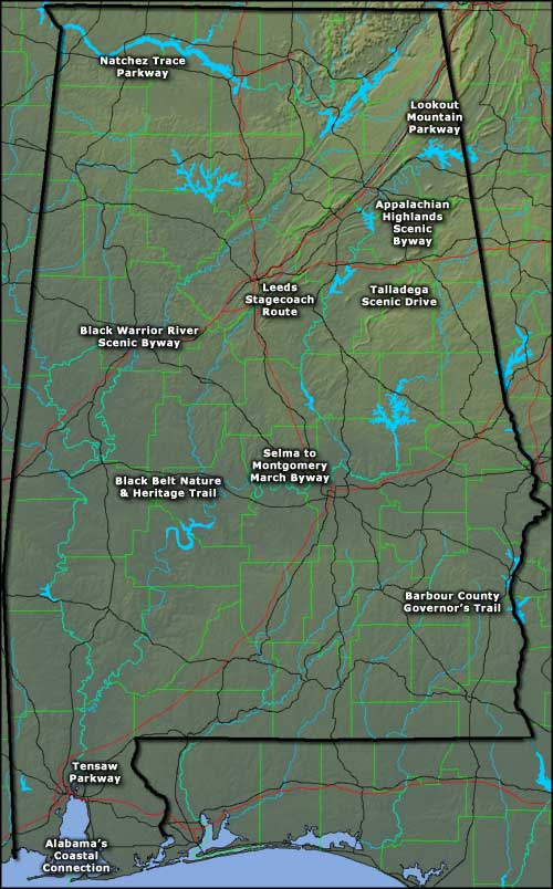 Map showing the locations of Alabama's Scenic Highways
