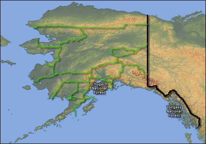 Locations of the National Forests in Alaska