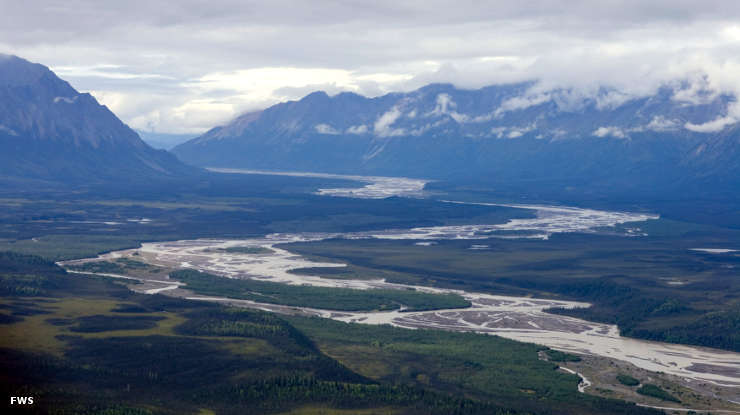 An aerial view of Tetlin National Wildlife Refuge