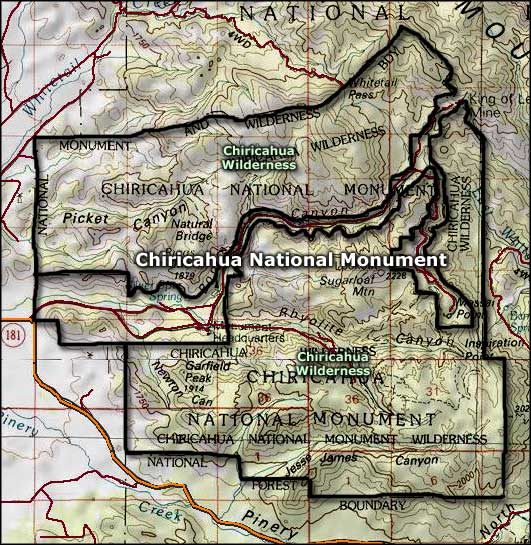 Map of Chiricahua National Monument and Wilderness