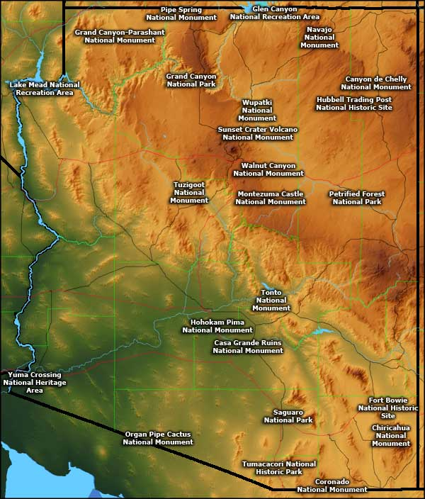 Map showing locations of the National Park Service sites in Arizona