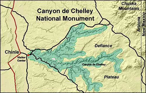 Map of Canyon de Chelly National Monument