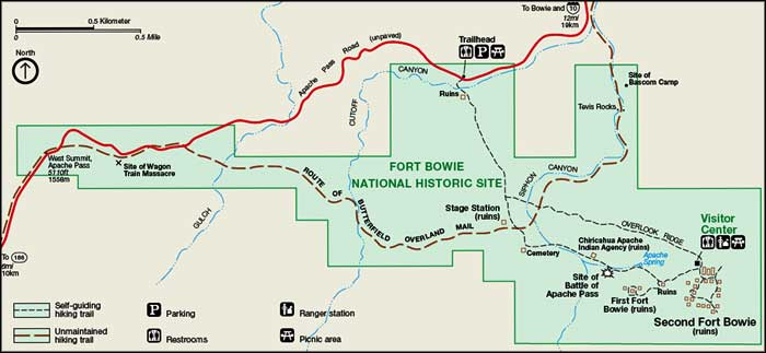 Map of Fort Bowie National Historic Site