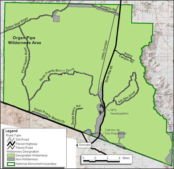 Map of Organ Pipe Cactus National Monument