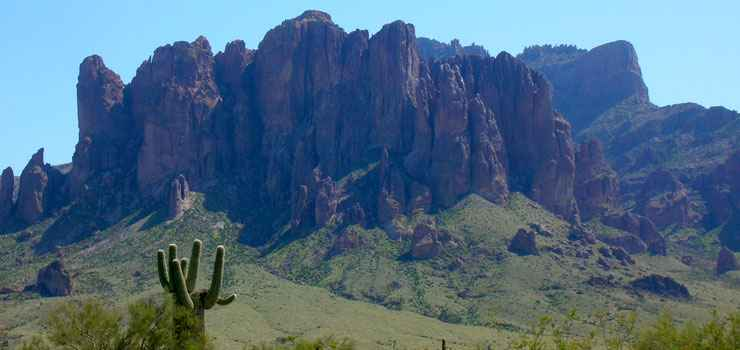 The Superstition Mountains rise above Lost Dutchman State Park