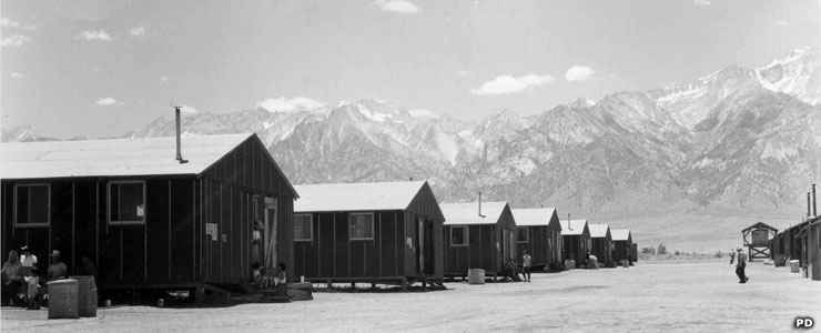 Manzanar National Historic Site: Some of the barracks at Manzanar in 1942