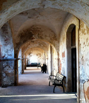 A hallway in the Officer's Quarters area of Castillo San Cristobal