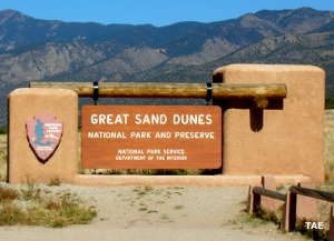 Sign marking the entrance to Great Sand Dunes National Park