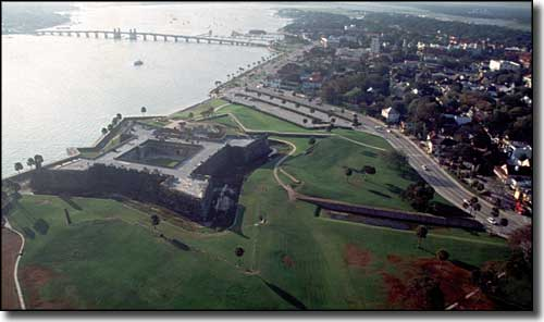An aerial view of Castillo de San Marcos National Monument