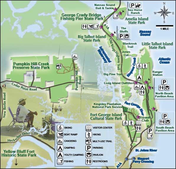 Florida State Parks Map.Amelia Island State Park Florida State Parks