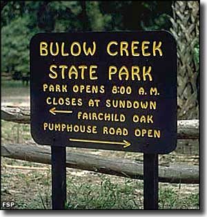 Bulow Creek State Park entry sign